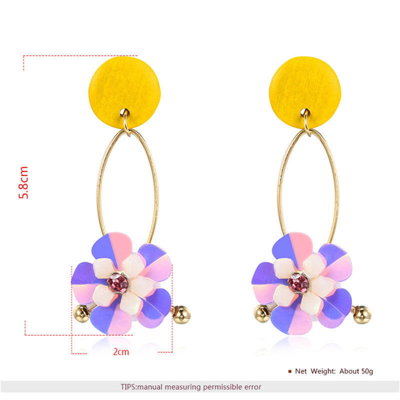 Two-Tone Sequin Petals Drop Earrings - Yellow