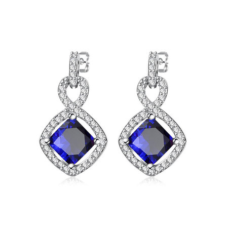 8 Shape Princess Sapphire Earrings