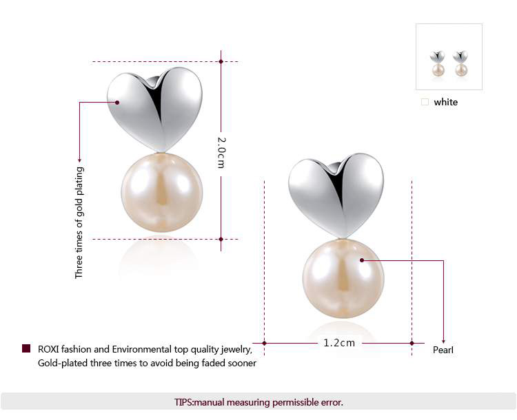 Heart and Pearl White Gold Earrings