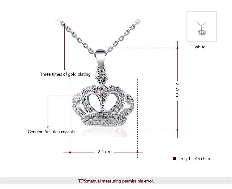 Queen Crown Diamond White Gold Necklace