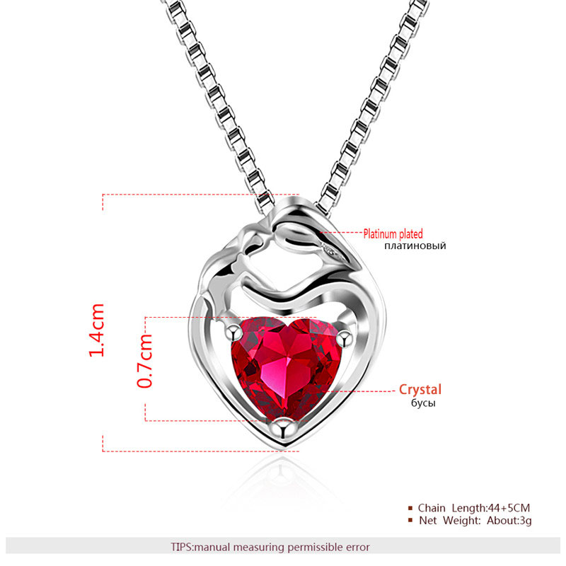 Little Red Heart Pendant White Gold Necklace