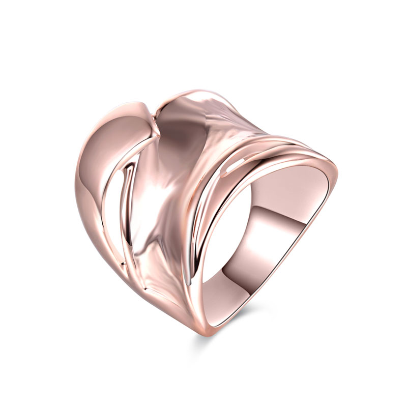 Ripple Wide Style Rose Gold Ring