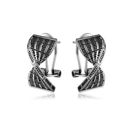 Ligament Silver Oxide Earrings