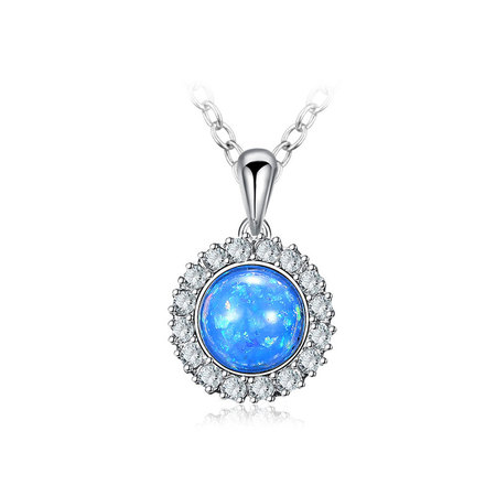 Blue Fossil Opal White Gold Necklace