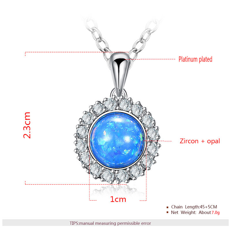 Blue Fossil Opal Pendant White Gold Halo Necklace