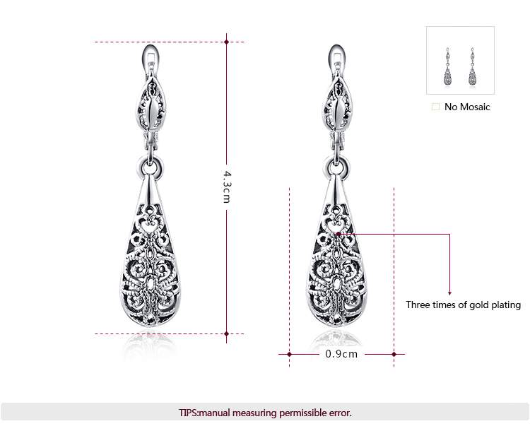 Cut Out Drop Shape Set - White Gold -1
