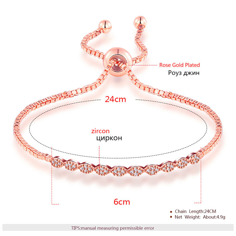 Marquise Diamond Adjustable Rose Gold Bracelet