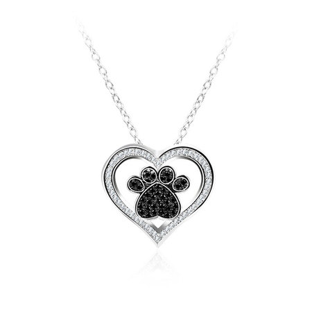 Heart & Foot Pendant White Gold Necklce
