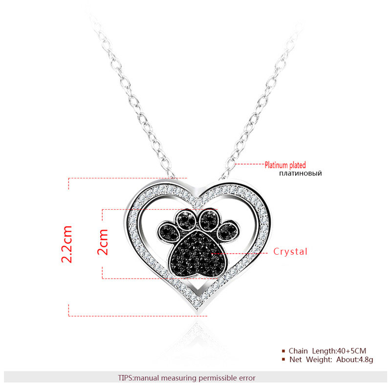 Heart & Paw Pendant White Gold Necklce
