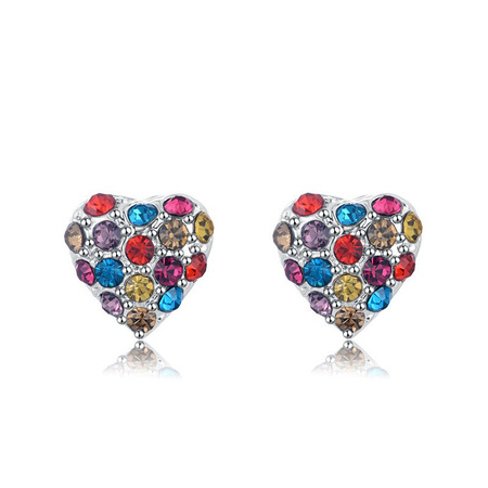 Heart Mixed Diamond Stud Earrings