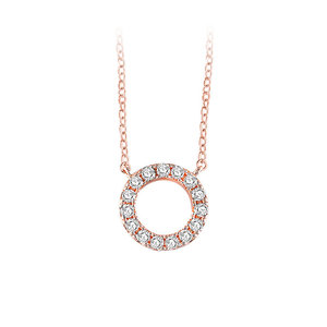 Classic Halo Pendant Rose Gold Necklace