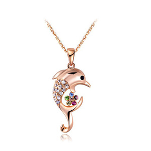 Dolphin Mixed Diamonds Pendant