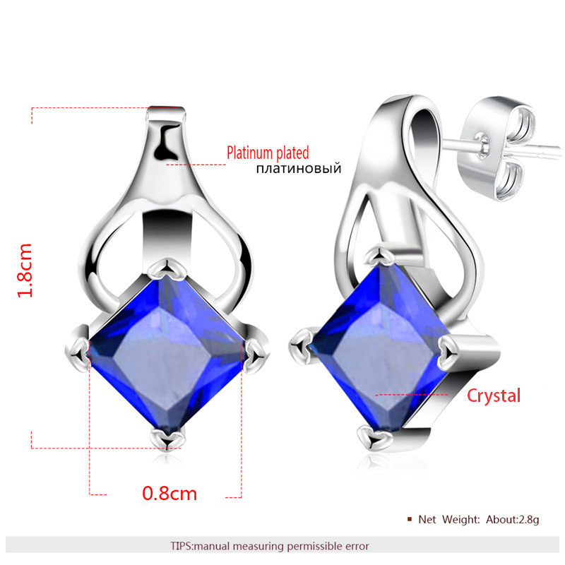 Princess Sapphire Inversion Heart White Gold Stud Earrings
