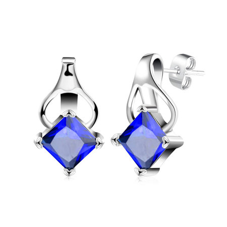 Princess Sapphire Inversion Heart Earrings