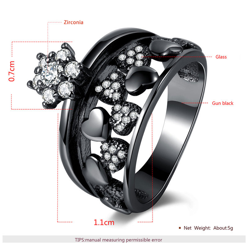 Heart & Plum Blossom Black Diamond Ring