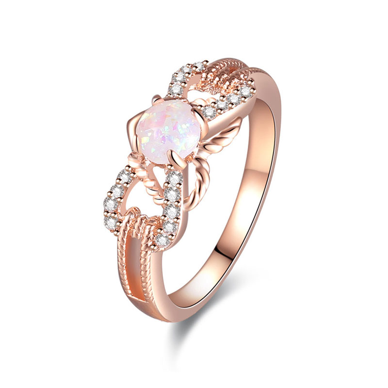 Laciness Bow Tie Opal Rose Gold Ring