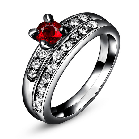 Gun Black Ruby Wedding Ring Set
