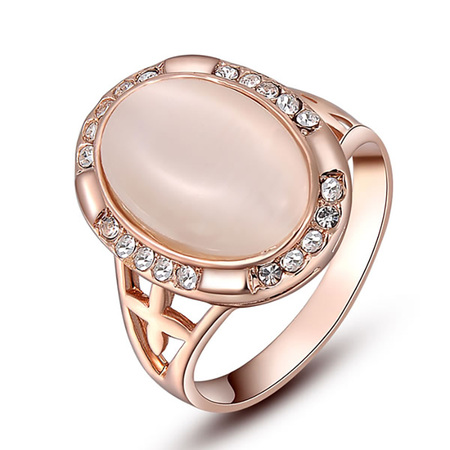 Oval Opal Rose Gold Ring