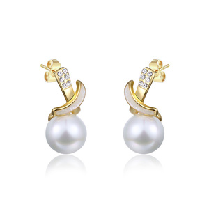 Yellow Gold Intersect Pearl Drop Earrings