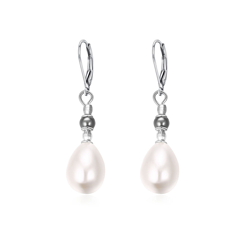 Fashion Two-Tone Bead Drop Earrings