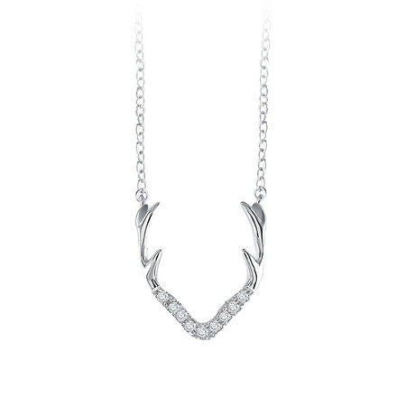 Caribou Horn White Gold Necklace