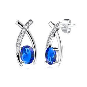 Oval Sapphire Arc Cross Stud Earrings