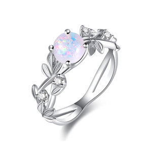Olive Leaves Opal White Gold Ring