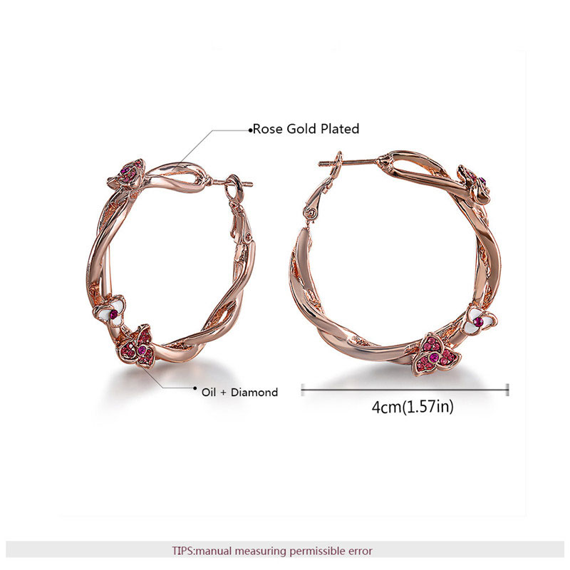 Twist The Vine With Flower Rose Gold Hoop Earrings