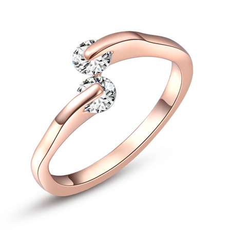 Simple Style Double Zirconia Ring