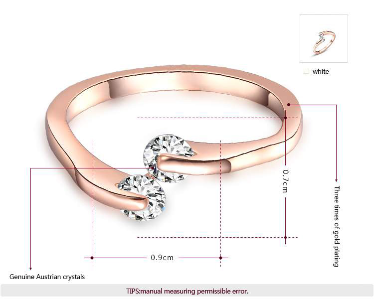 Simple Style Double Zirconia Rose Gold Ring