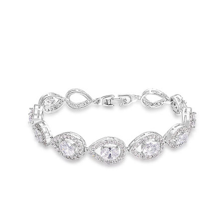 Drop Shape White Gold Bracelet