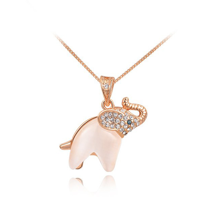 Elephant Opal Pendant Necklace