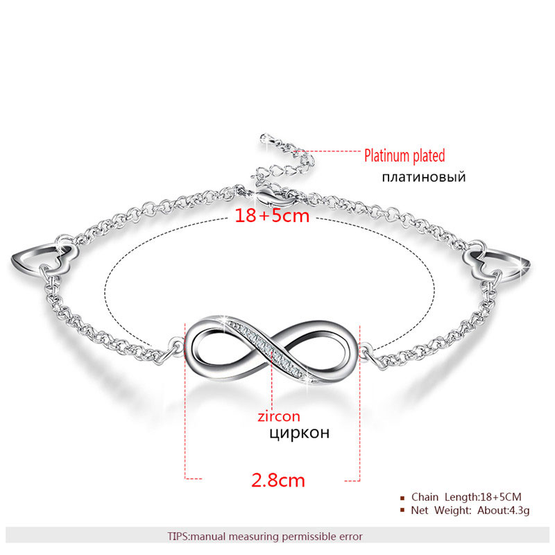 Infinity & Heart With Diamond White Gold Bracelet