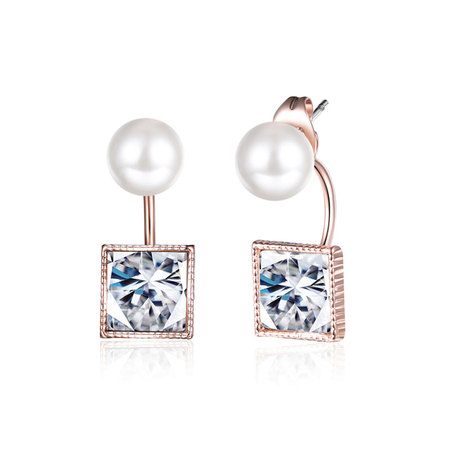 Pearl & Princess Diamond Rose Gold Earrings