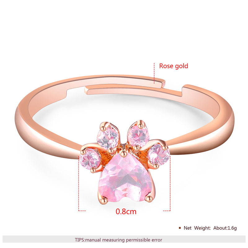Paw Pink Diamond Rose Gold Adjustable Ring