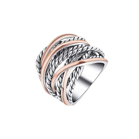Crossover Twist Two-Tone Ring