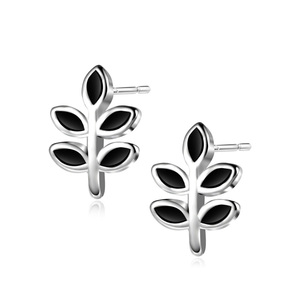 Sterling Silver Black Leaves Stud Earrings
