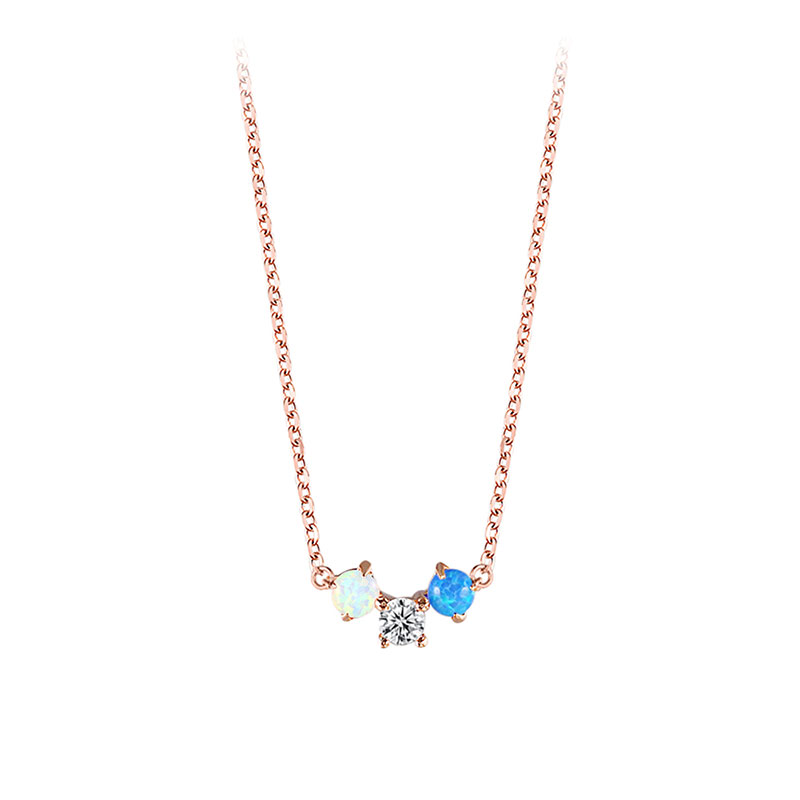 Three Round Gemstones Rose Gold Necklace