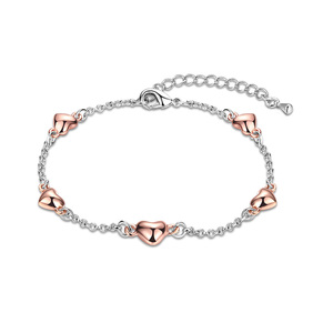 Five Heart Two-Tone Bracelet