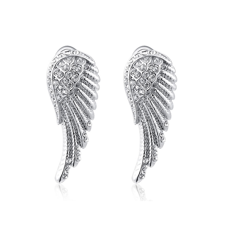Angel Wings White Gold Earrings
