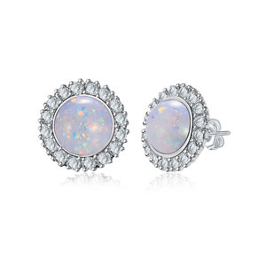 Fossil Opal Halo Stud Earrings