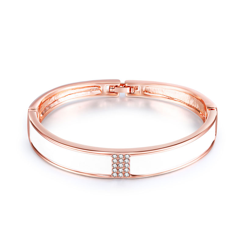 Classic Design Enamel Rose Gold Bangle