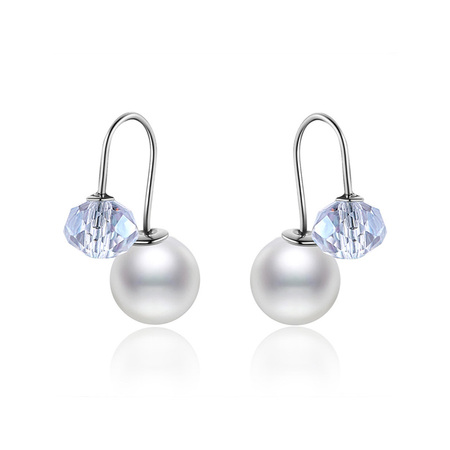 White Bead and Crystal Ball Earrings