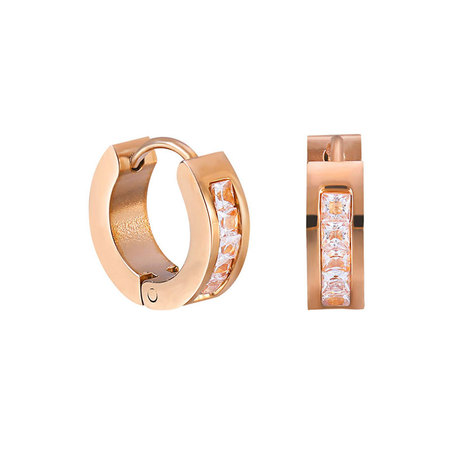 Five Diamond Rose Gold Hoop Earrings