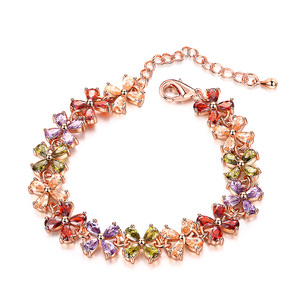 Four Leaf Clover Multicolour Gemstone Bracelet