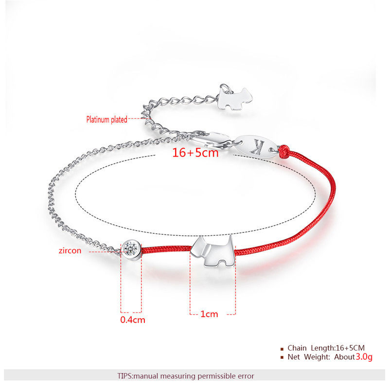 Half Red Cord Cute Puppy Couple Bracelet