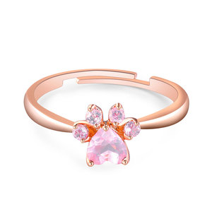 Paw Pink Diamond Adjustable Ring