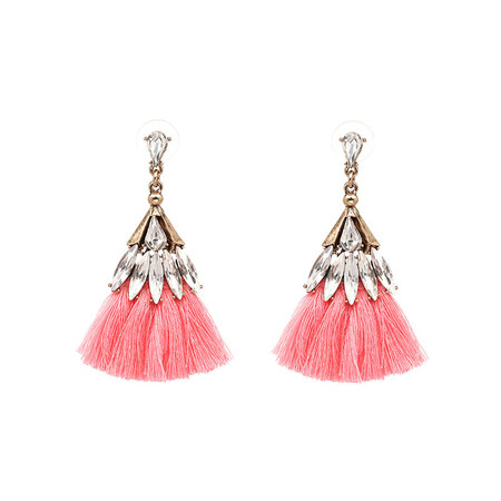 Bohemian Zirconia Sector Tassel Earrings