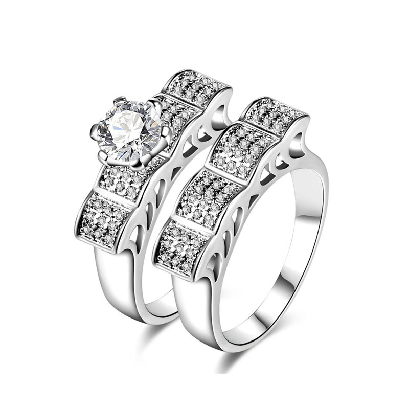 Wave Segment White Gold Diamond Couple Rings