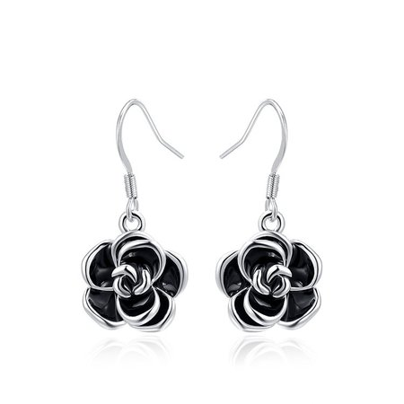Black Rose Earrings - White Gold